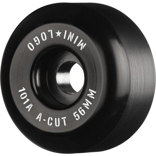 "Mini Logo Skateboard Wheels A-cut ""2"" 56mm 101A Black 4pk"