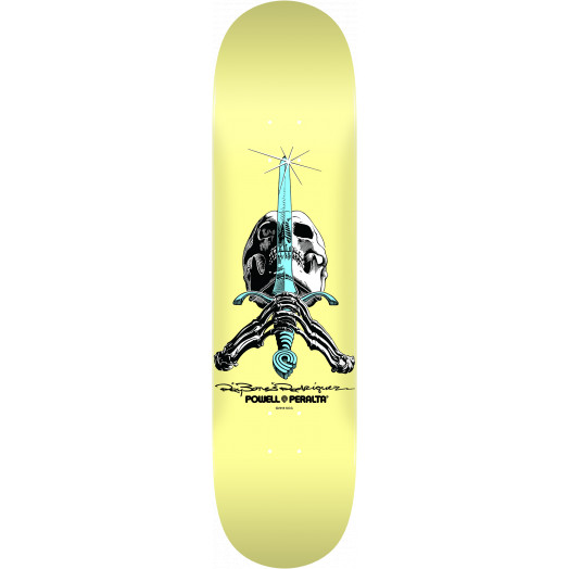 Powell Peralta Skull and Sword Skateboard Blem Deck Pastel Yellow 243 K20 - 8.25 x 31.95