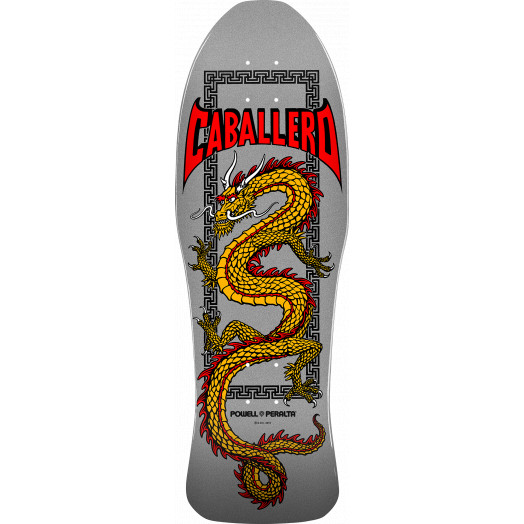 Powell Peralta Caballero Chinese Dragon Blem Skateboard Deck Silver - 10 x 30