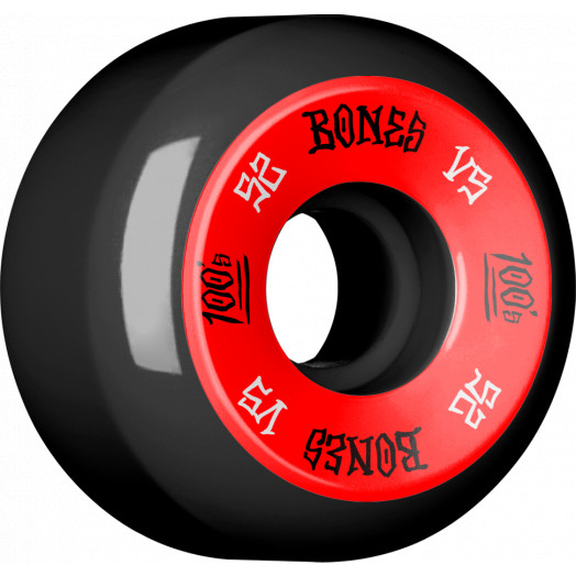 BONES WHEELS 100's 52x30 V5 Skateboard Wheels 100A Black 4pk