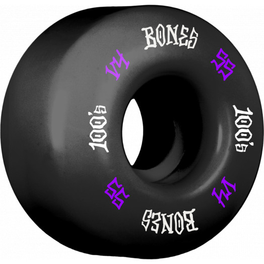 BONES WHEELS 100's #12 OG Formula 55x34 V4 Skateboard Wheels 100A 4pk Black