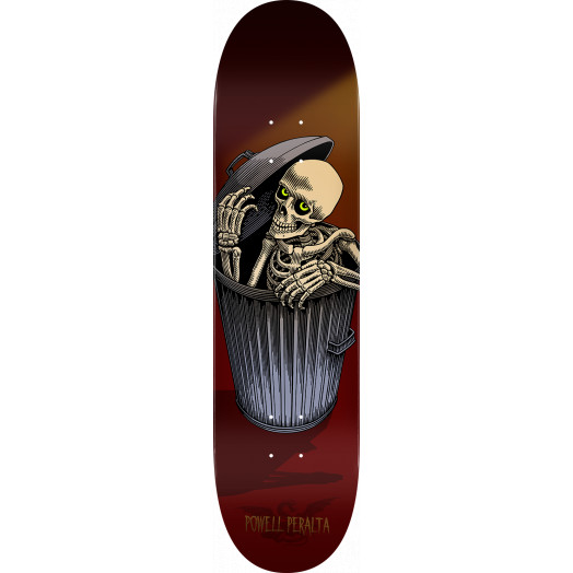 Powell Peralta Garbage Can Skelly Blem Skateboard Deck Burgundy