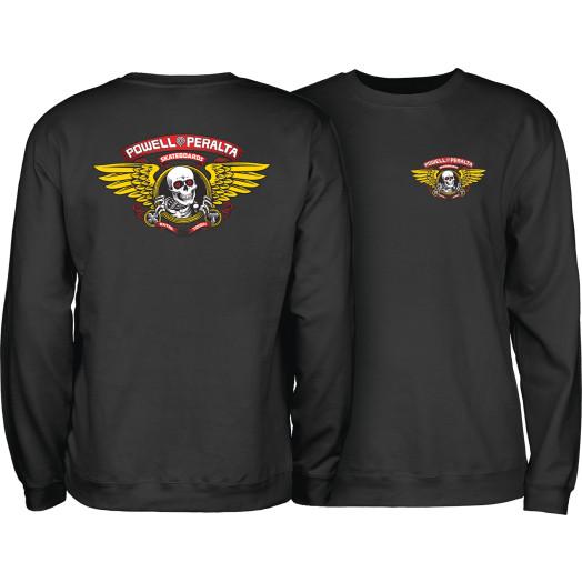 Powell Peralta Winged Ripper Midweight Crewneck Sweatshirt - Black