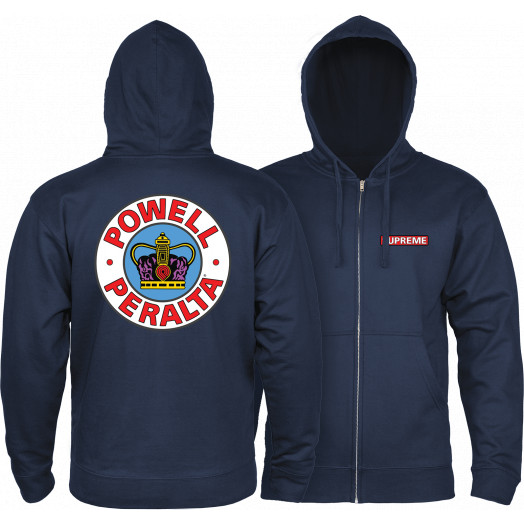 Powell Peralta Hooded Zip Sweatshirt Supreme Logo Navy