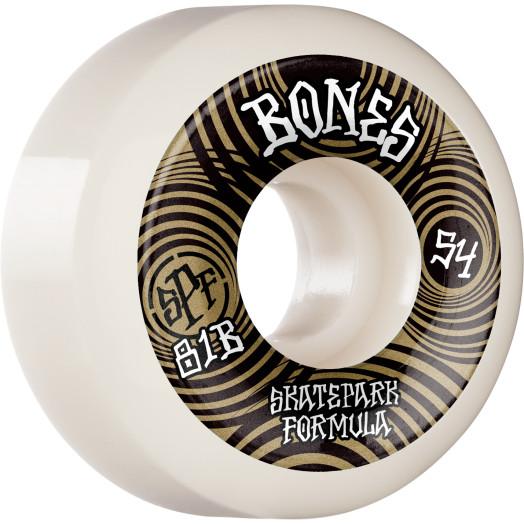 BONES WHEELS SPF Skateboard Wheels Ripples 54mm P5 Sidecut 81B 4pk White
