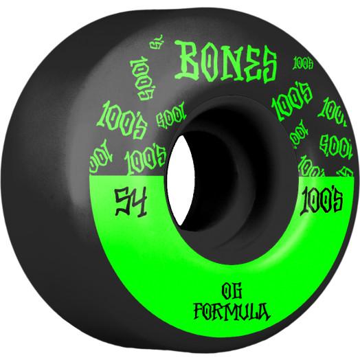 BONES WHEELS OG Formula Skateboard Wheels 100 #13 54mm V4 Wide 4pk Black