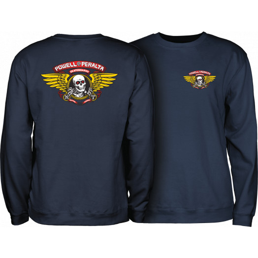 Powell Peralta Winged Ripper Crew Sweatshirt Mid Weight Navy