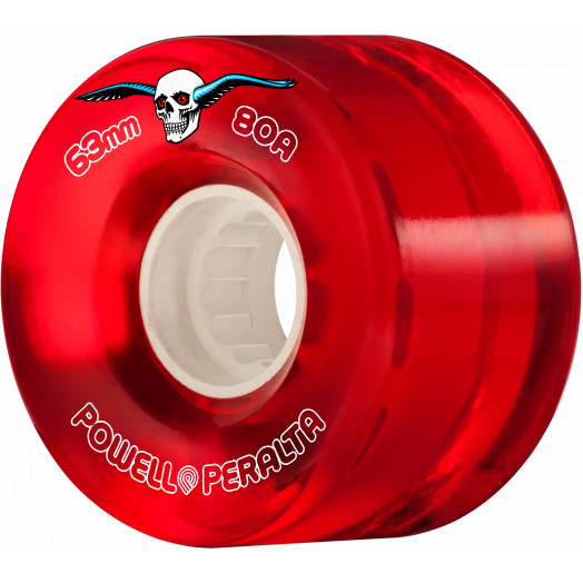 Powell Peralta Clear Cruiser Skateboard Wheels Red 63mm 80A 4pk