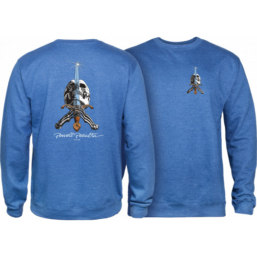 Powell Peralta Skull & Sword Midweight Crewneck Sweatshirt - Royal Heather