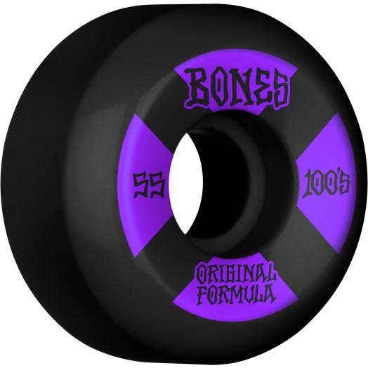 BONES WHEELS OG Formula Skateboard Wheels 100 #4 55mm V5 Sidecut 4pk Black
