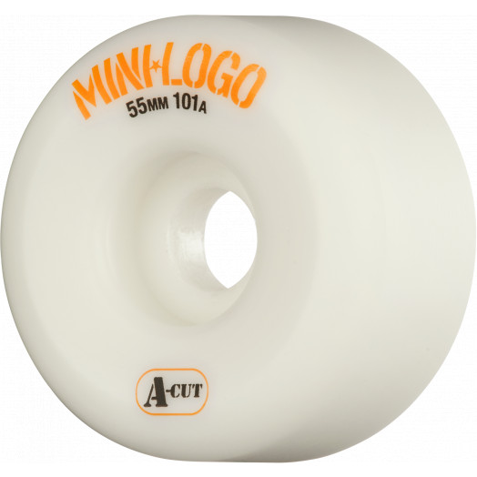 Mini Logo Skateboard Wheels A-cut 55mm 101A White 4pk