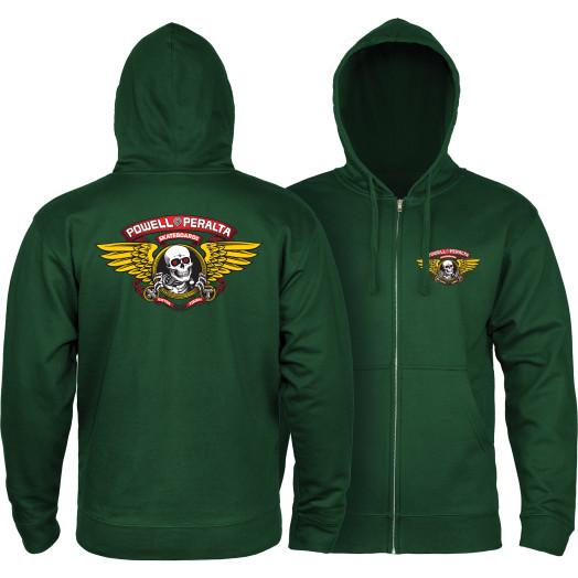 Powell Peralta Winged Ripper Hooded Zip Sweatshirt - Alpine Green