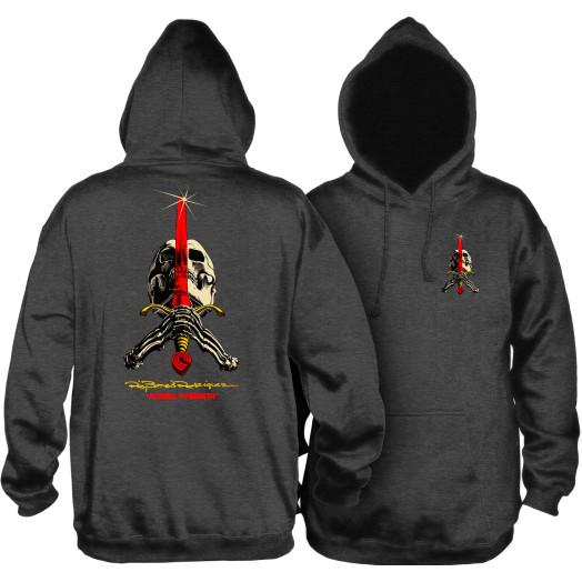 Powell Peralta Skull & Sword Mid Weight Hooded Sweatshirt - Charcoal Heather