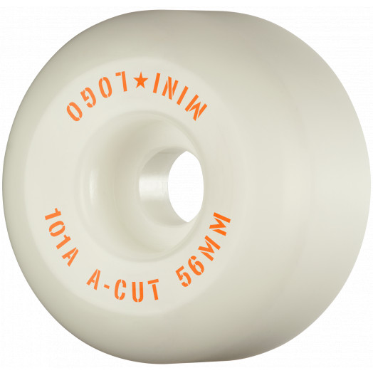 "Mini Logo Skateboard Wheels A-cut ""2"" 56mm 101A White 4pk"