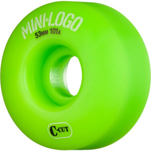 Mini Logo Skateboard Wheels C-cut 53mm 101A Green 4pk