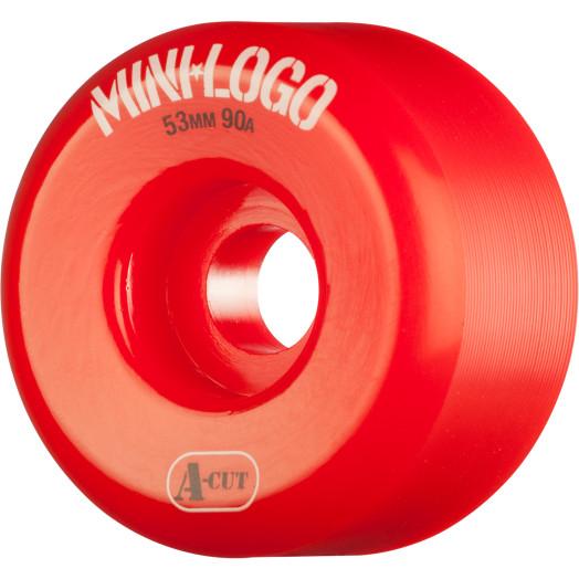 Mini Logo Skateboard Wheels A-cut 53mm 90A Red 4pk