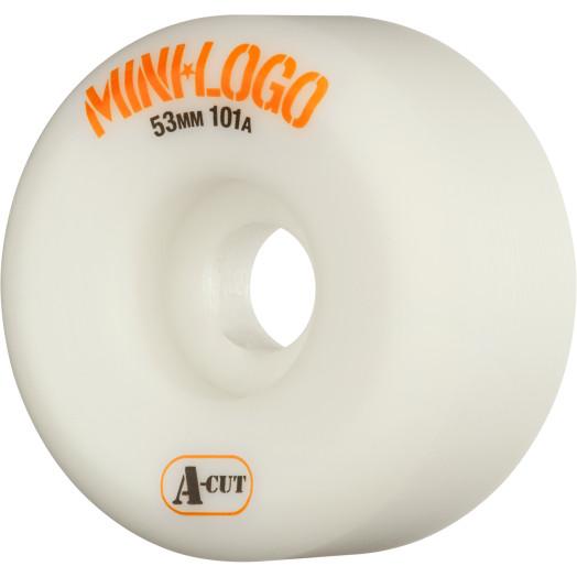 Mini Logo Skateboard Wheels A-cut 53mm 101A White 4pk
