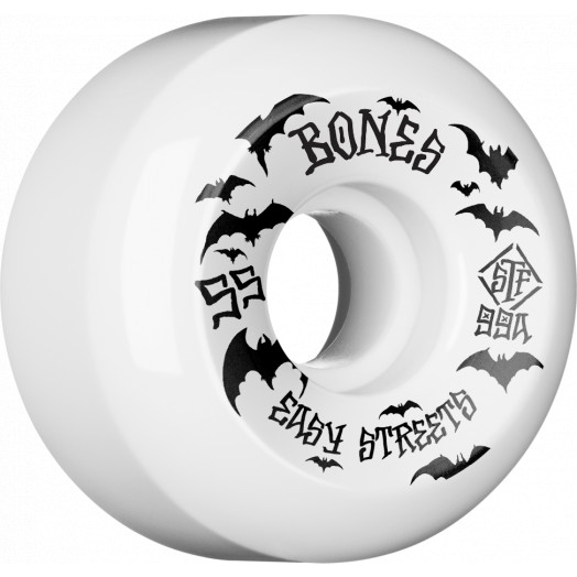 BONES WHEELS STF Bats Skateboard Wheels 55mm 99a Easy Streets V5 Sidecuts 4pk White