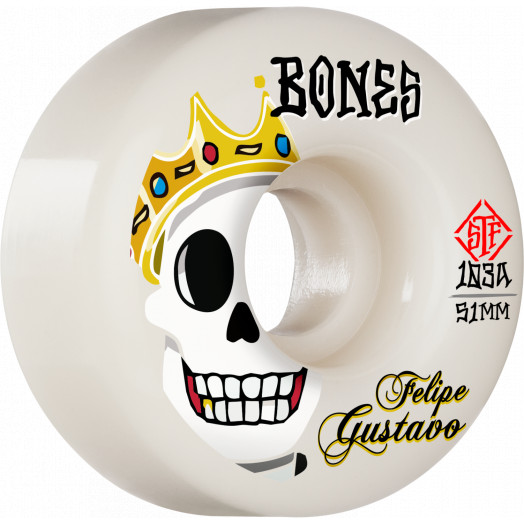 BONES WHEELS PRO STF Skateboard Wheels Gustavo Notorious 51mm V1 Standard 103A 4Pk