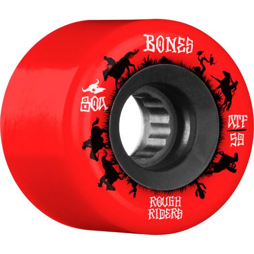 BONES WHEELS ATF Rough Rider Skateboard Wheels Wranglers 59mm 80a 4pk Red