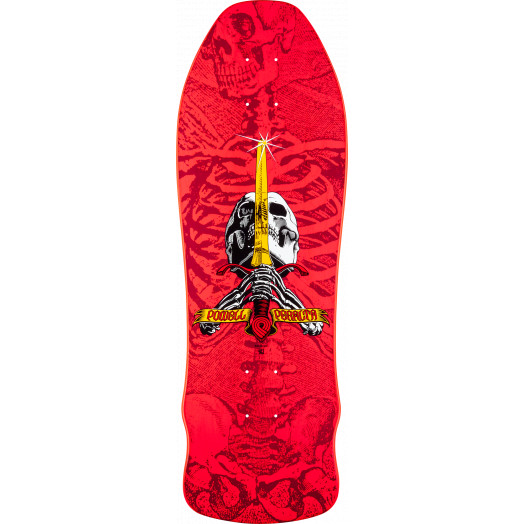 Powell Peralta Geegah Skull and Sword Skateboard Deck Pink - 9.75 x 30