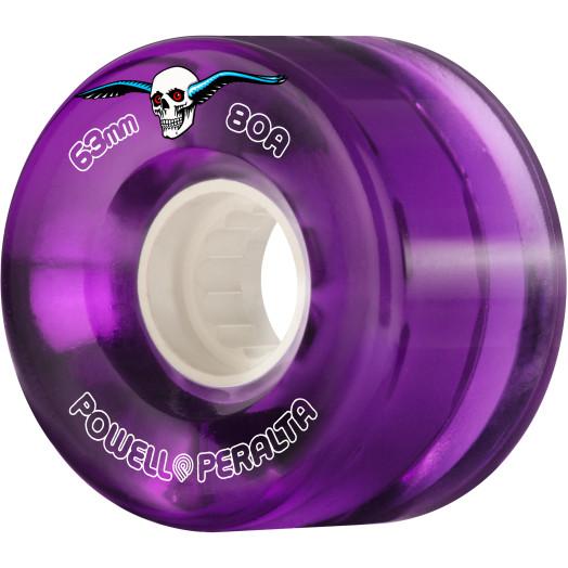Powell Peralta Clear Cruiser Skateboard Wheels Purple 63mm 80A 4pk