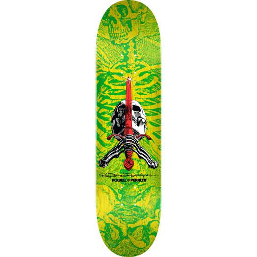 Powell Peralta Skull & Sword Skateboard Deck Yellow Green - 8.5 x 32.08