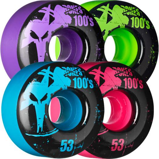 BONES WHEELS 100 Slims 53mm - Assorted Colors (4 pack)