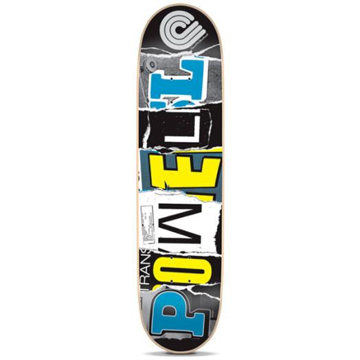 Powell Magazine Letters Blue Skateboard Deck - 7.75 x 31.75
