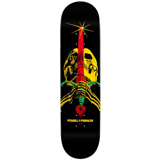 Powell Peralta LIGAMENT Blacklight Rasta Skull & Sword Deck #6 - 8.25 x 32.5