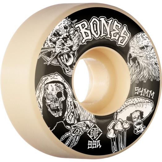 BONES WHEELS STF Night Watch Skateboard Wheels 54mm 99a Easy Streets V1 Standard 4pk White