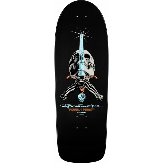 Powell Peralta Rodriguez Skull and Sword Skateboard Deck Gunmetal - 10 x 30
