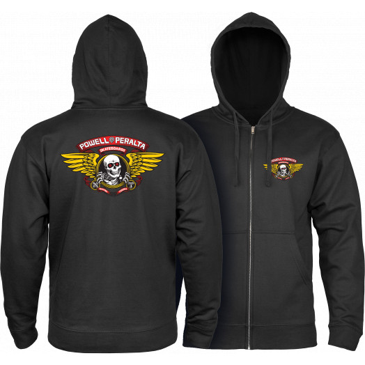 Powell Peralta Winged Ripper Hooded Zip - Black