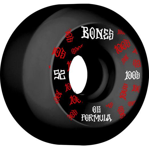 BONES WHEELS OG Formula Skateboard Wheels 100 #3 52mm V5 Sidecut 4pk Black