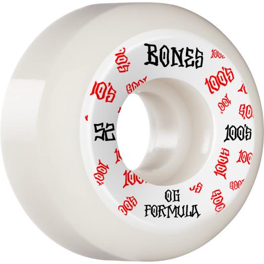 BONES WHEELS OG Formula Skateboard Wheels 100 #3 52mm V5 Sidecut 4pk White