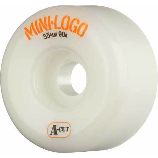 Mini Logo Skateboard Wheels A-cut 55mm 90A White 4pk