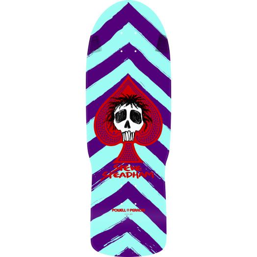Powell Peralta Steadham Skull & Spade Skateboard Deck Purp/Aqua Reissue - 10 x 30.125