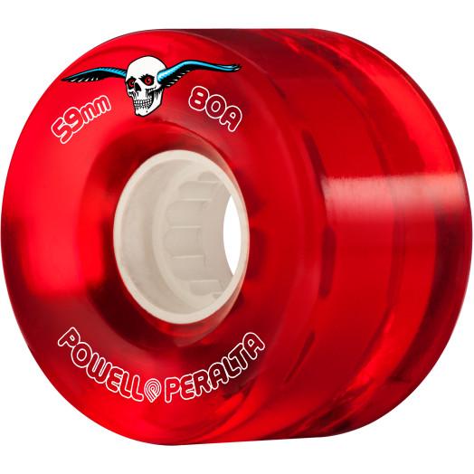 Powell Peralta Clear Cruiser Skateboard Wheels Red 59mm 80A 4pk