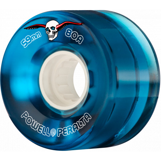 Powell Peralta Clear Cruiser Skateboard Wheels Blue 59mm 80A 4pk