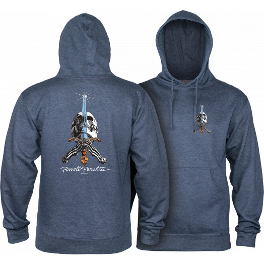 Powell Peralta Skull & Sword Mid Weight Hooded Sweatshirt - Navy Heather