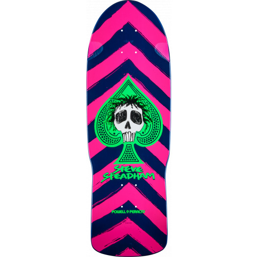 Powell Peralta Steadham Skull and Spade Skateboard Blem Deck Pink/Navy - 10 x 30.125