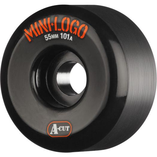 Mini Logo Skateboard Wheels A-cut 55mm 101A Black 4pk