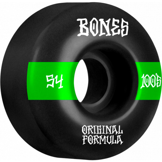 BONES WHEELS OG Formula Skateboard Wheels 100 #14 54mm V4 Wide 4pk Black