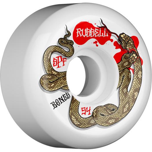 BONES WHELS SPF Pro Chris Russell Snake Bite Skateboard Wheel P5 Sidecut 54mm 4pk White