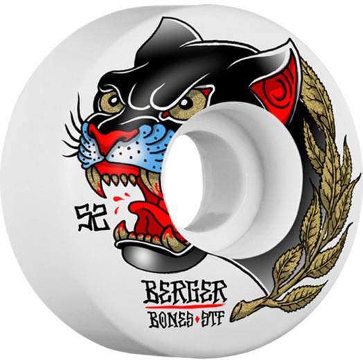 BONES WHEELS STF Pro Berger Panther Skateboard Wheels V3 Slims 52mm 4pk
