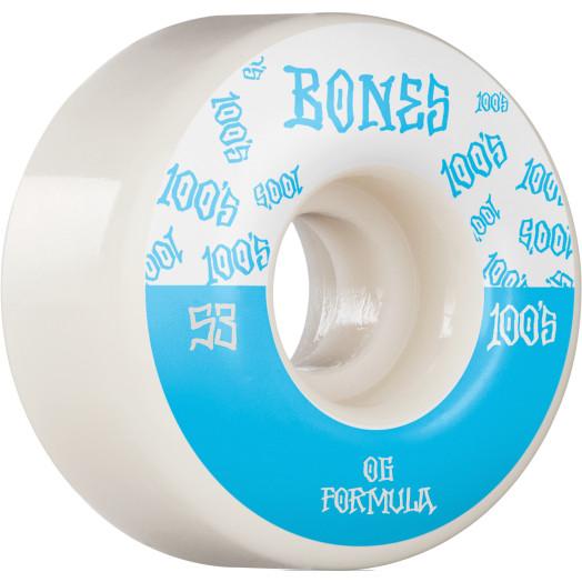 BONES WHEELS OG Formula Skateboard Wheels 100 #13 53mm V4 Wide 4pk White