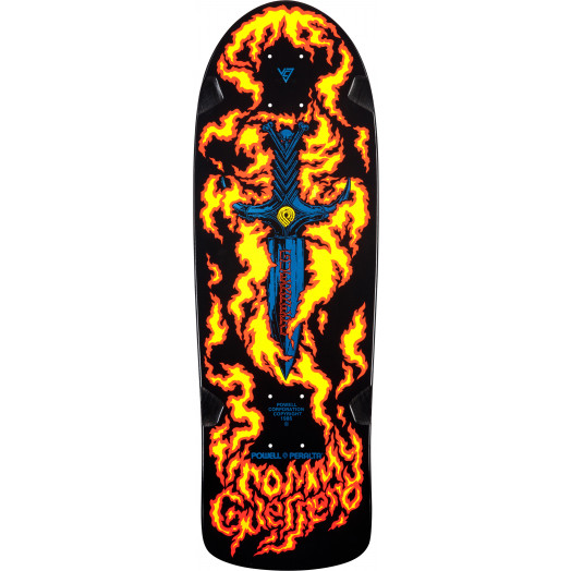 Bones Brigade® Tommy Guerrero Flaming Dagger Reissue Deck Black - 9.6 x 29.18