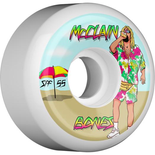 BONES WHEELS SPF Pro McClain Beach Bum Skateboard Wheels Sidecuts 55mm 4pk White