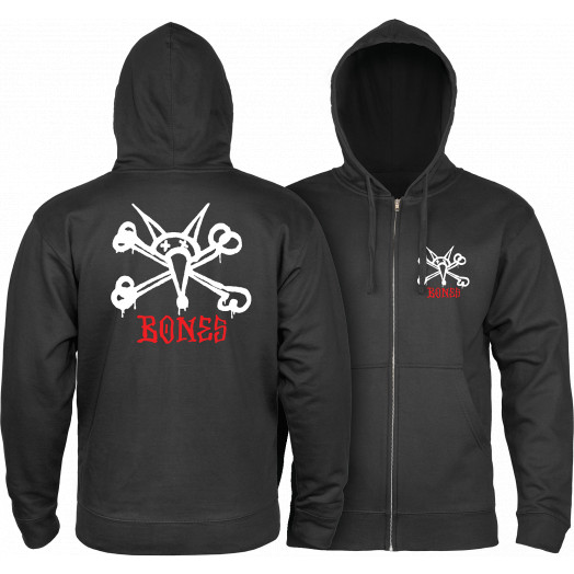Powell Peralta Rat Bones Hooded Zip Sweatshirt - Black