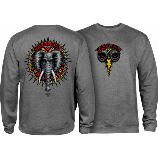 Powell Peralta Mike Vallely Elephant Midweight Crewneck Sweatshirt - Gunmetal Heather